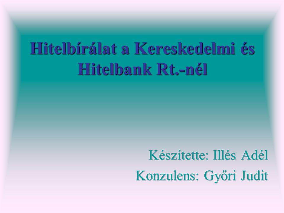 Hitelbírálat a Kereskedelmi és Hitelbank Rt.-nél