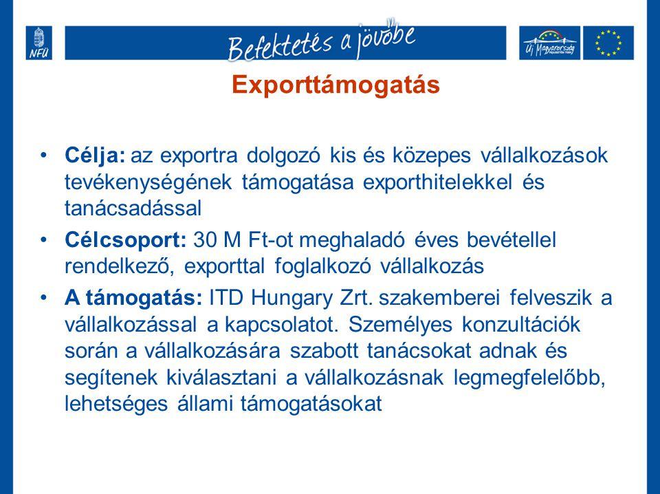 Exporttámogatás Célja: az exportra dolgozó kis és közepes vállalkozások tevékenységének támogatása exporthitelekkel és tanácsadással.