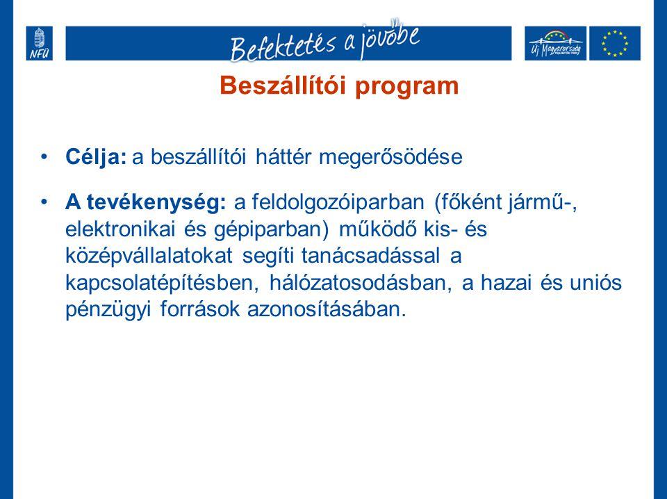 Beszállítói program Célja: a beszállítói háttér megerősödése