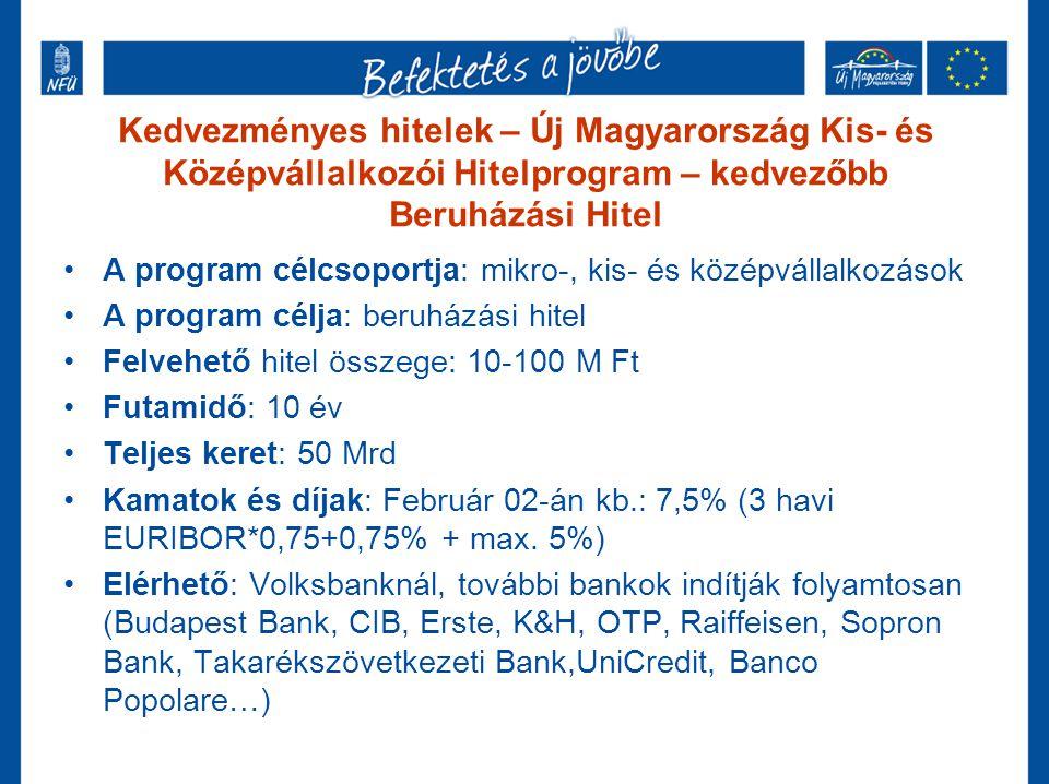 Kedvezményes hitelek – Új Magyarország Kis- és Középvállalkozói Hitelprogram – kedvezőbb Beruházási Hitel