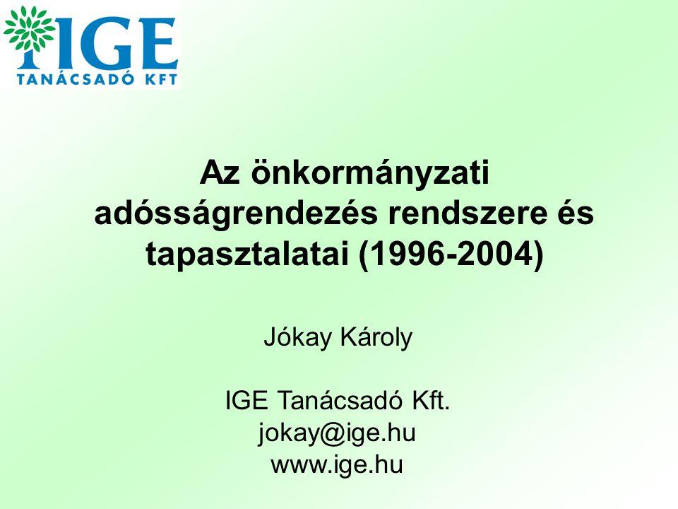 Az önkormányzati adósságrendezés rendszere és tapasztalatai (1996-2004)
