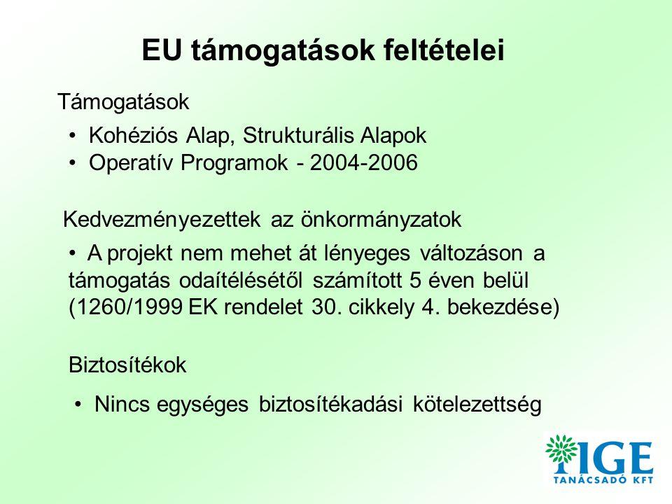 EU támogatások feltételei