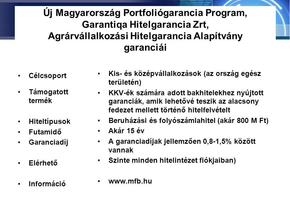 Új Magyarország Portfoliógarancia Program, Garantiqa Hitelgarancia Zrt, Agrárvállalkozási Hitelgarancia Alapítvány garanciái