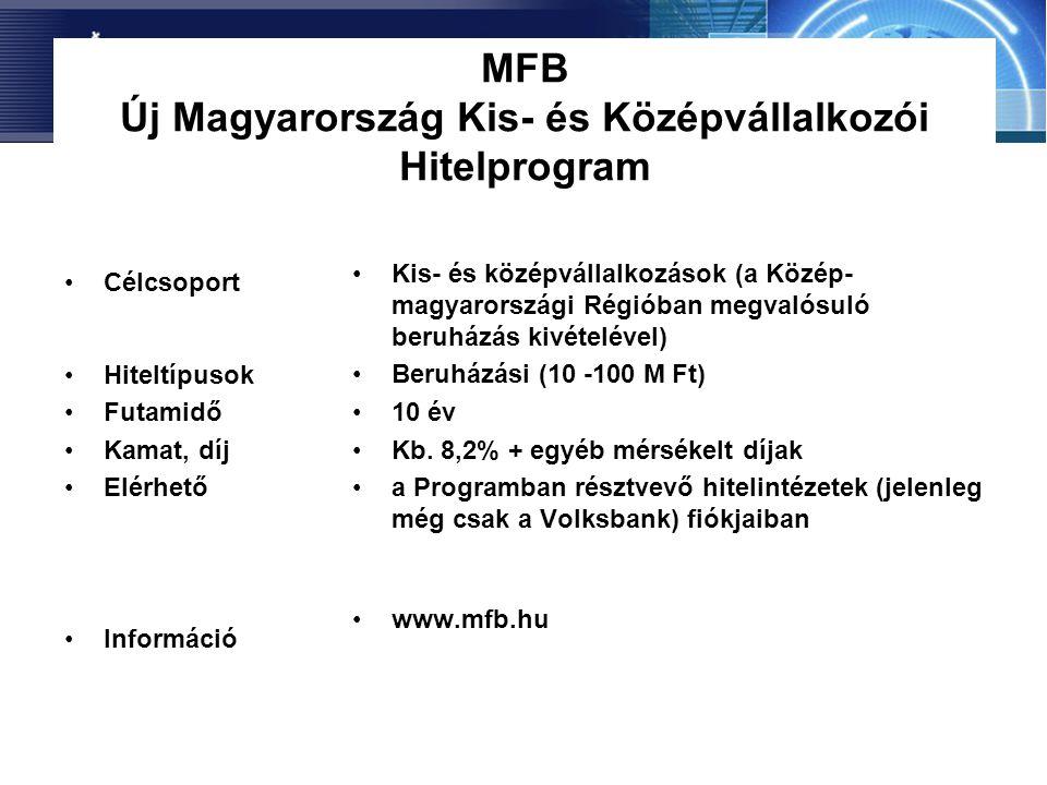 MFB Új Magyarország Kis- és Középvállalkozói Hitelprogram