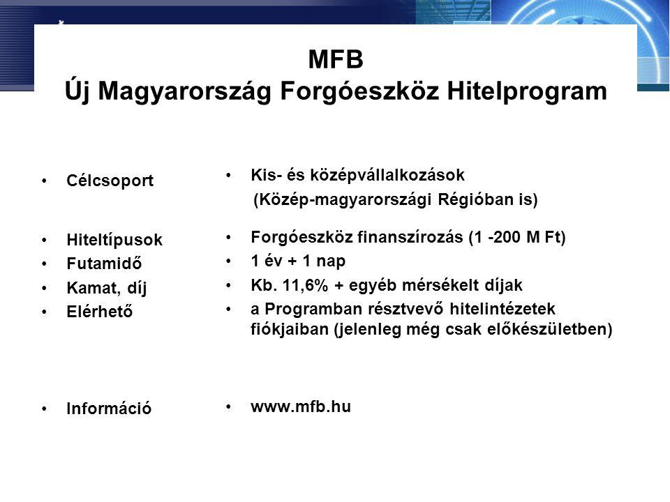 MFB Új Magyarország Forgóeszköz Hitelprogram