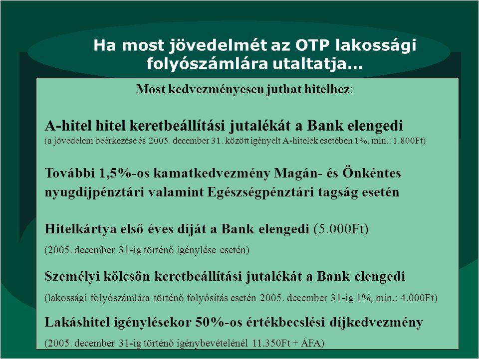 Ha most jövedelmét az OTP lakossági folyószámlára utaltatja…