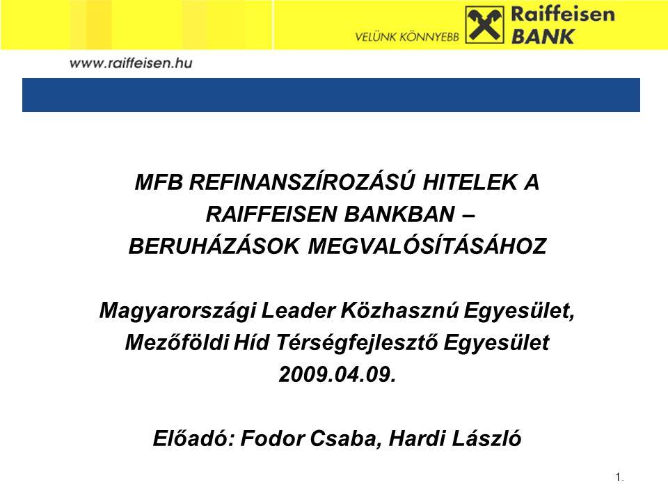 MFB REFINANSZÍROZÁSÚ HITELEK A RAIFFEISEN BANKBAN –