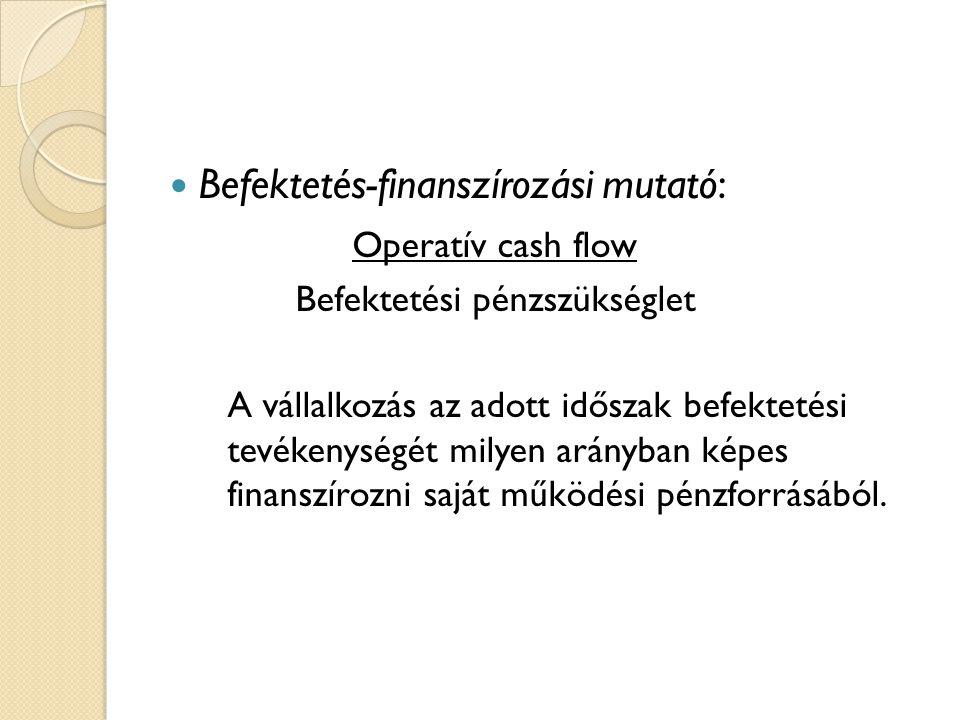 Befektetés-finanszírozási mutató: Operatív cash flow