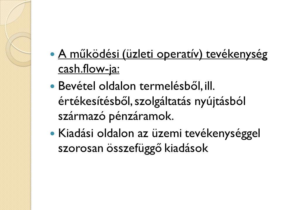 A működési (üzleti operatív) tevékenység cash.flow-ja: