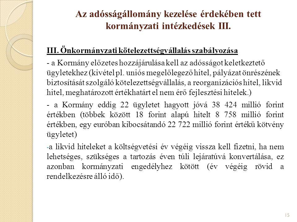III. Önkormányzati kötelezettségvállalás szabályozása