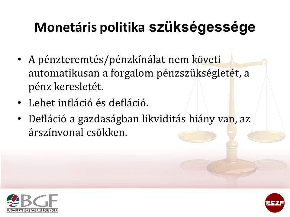 Monetáris politika szükségessége