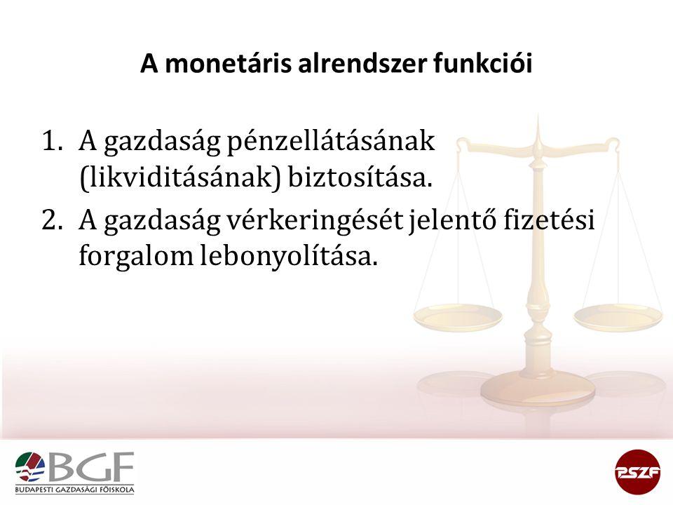 A monetáris alrendszer funkciói
