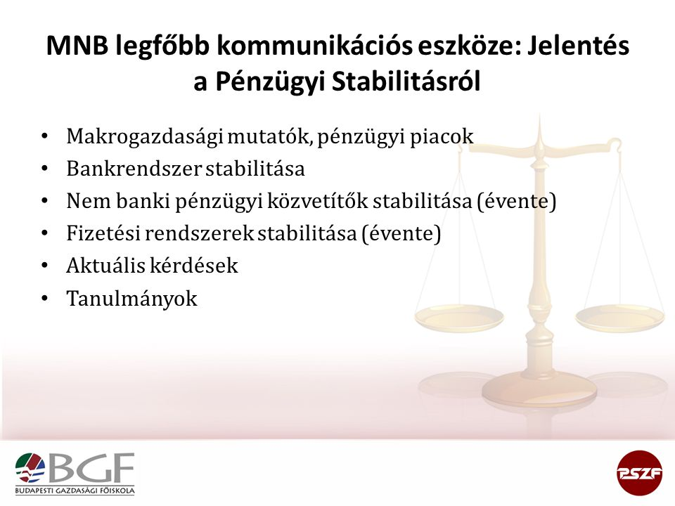 MNB legfőbb kommunikációs eszköze: Jelentés a Pénzügyi Stabilitásról