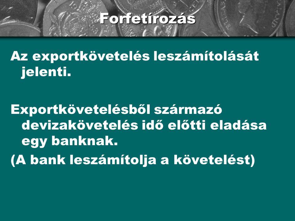 Forfetírozás Az exportkövetelés leszámítolását jelenti.