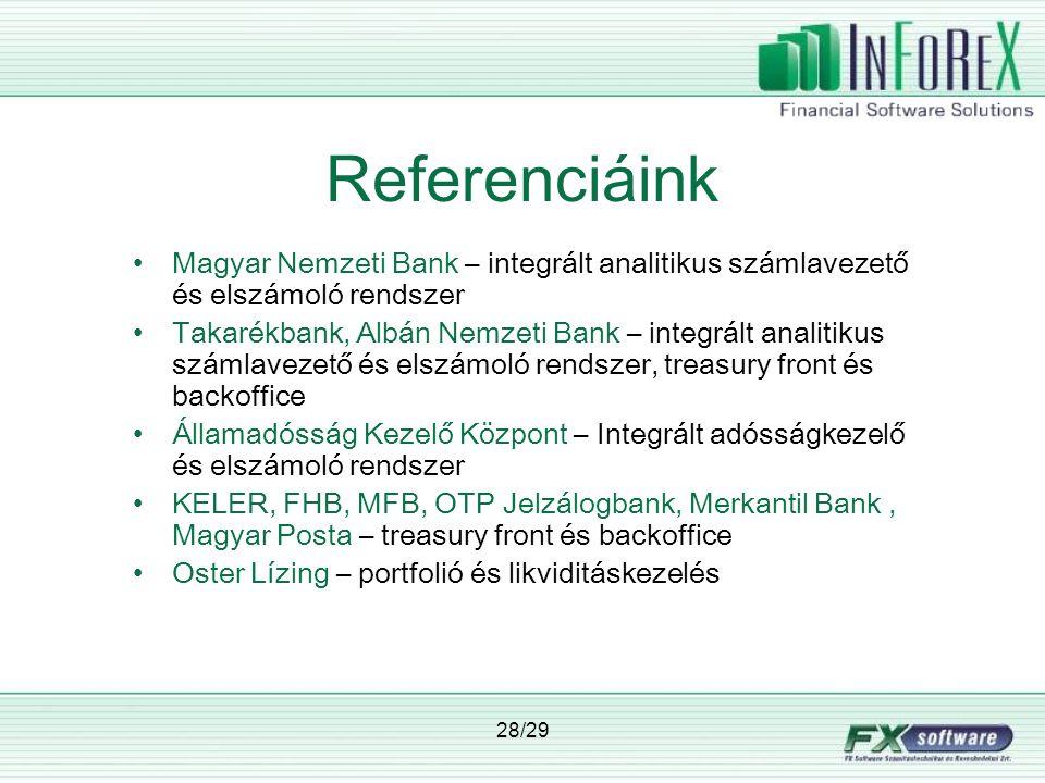 Referenciáink Magyar Nemzeti Bank – integrált analitikus számlavezető és elszámoló rendszer.