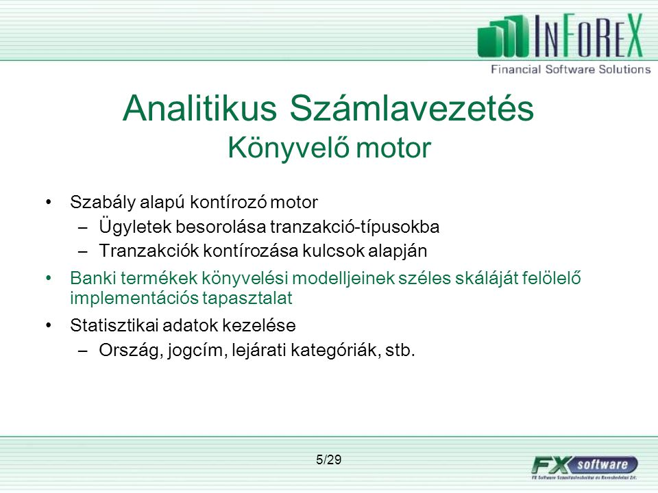 Analitikus Számlavezetés Könyvelő motor