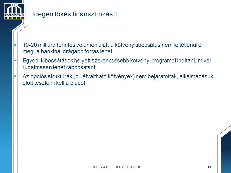 Idegen tőkés finanszírozás II.