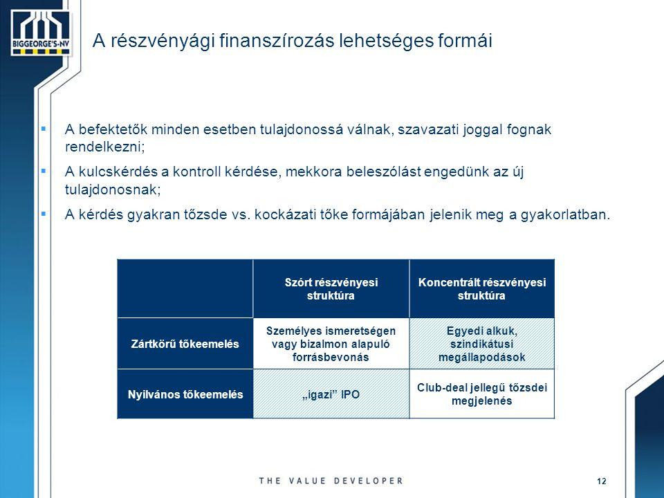 A részvényági finanszírozás lehetséges formái