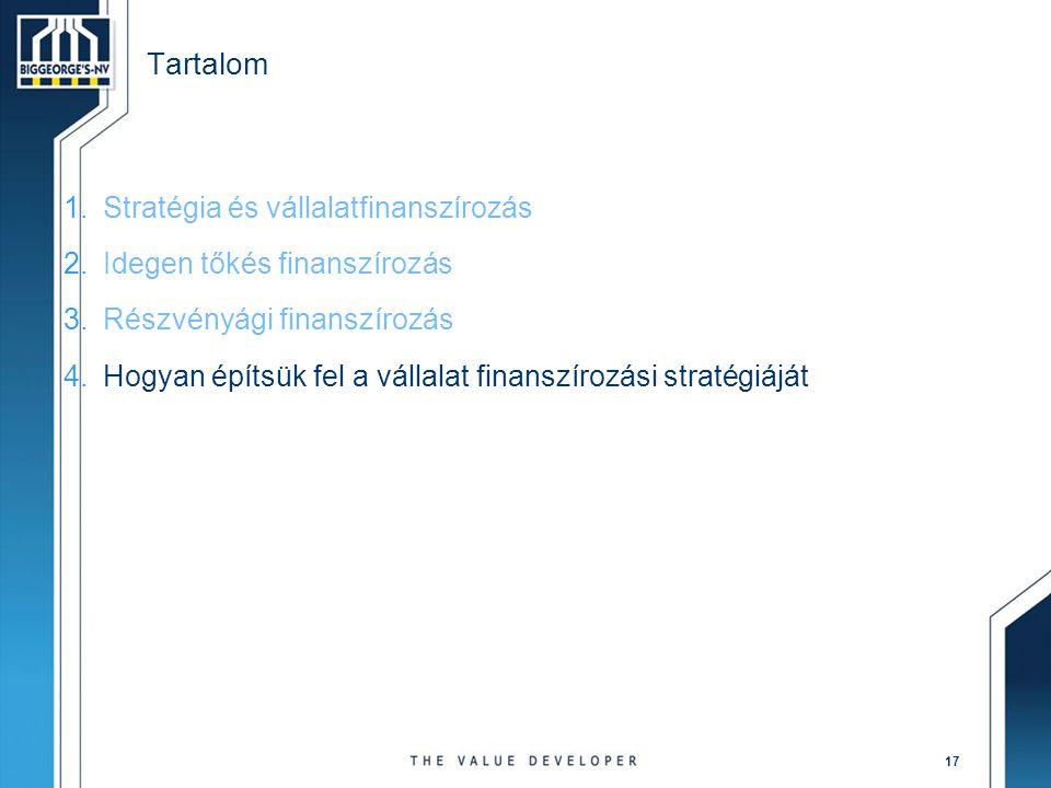 Tartalom Stratégia és vállalatfinanszírozás Idegen tőkés finanszírozás