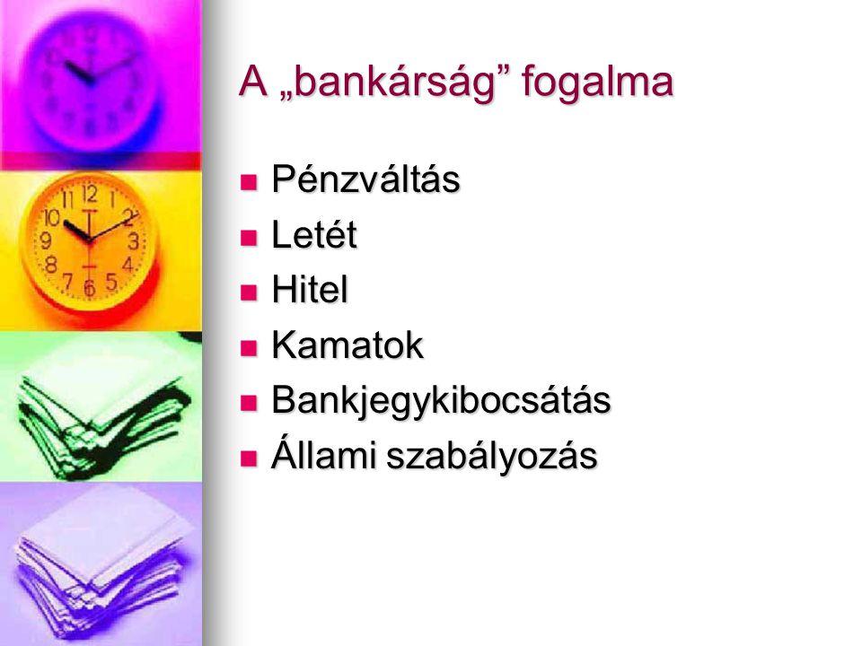 """A """"bankárság fogalma Pénzváltás Letét Hitel Kamatok"""