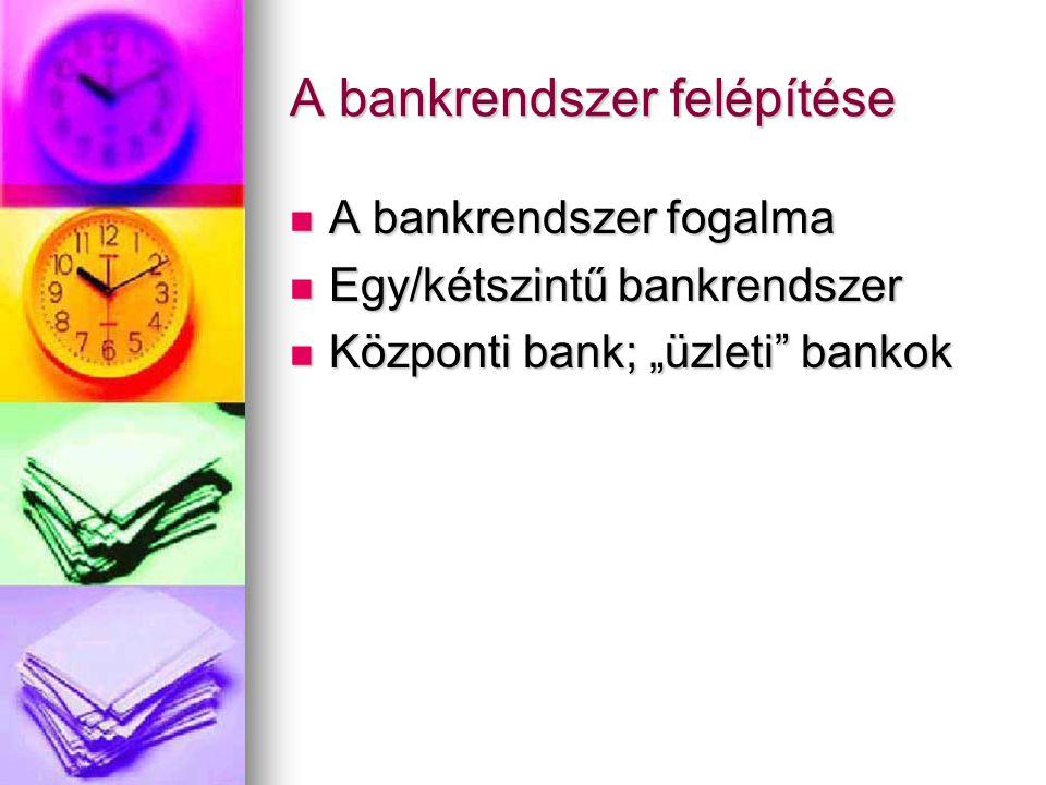 A bankrendszer felépítése
