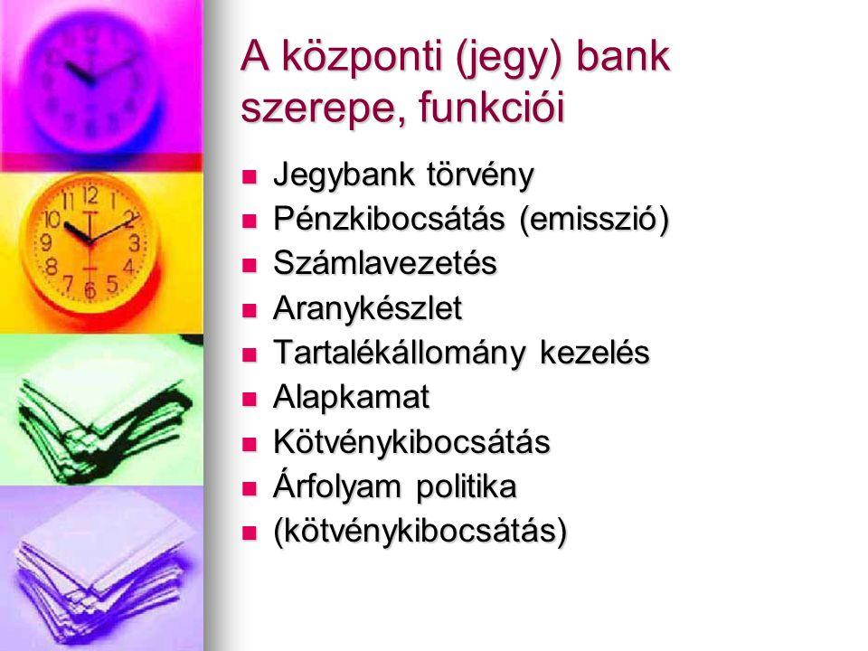 A központi (jegy) bank szerepe, funkciói