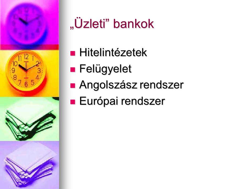 """""""Üzleti bankok Hitelintézetek Felügyelet Angolszász rendszer"""