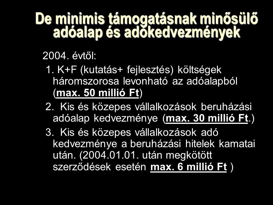 De minimis támogatásnak minősülő adóalap és adókedvezmények