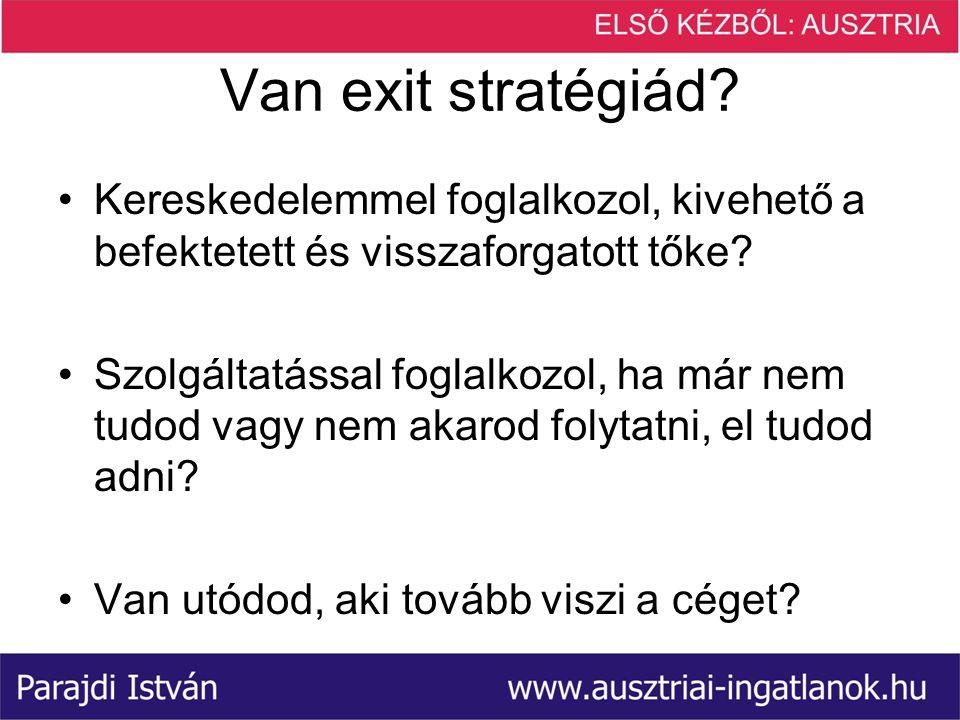 Van exit stratégiád Kereskedelemmel foglalkozol, kivehető a befektetett és visszaforgatott tőke