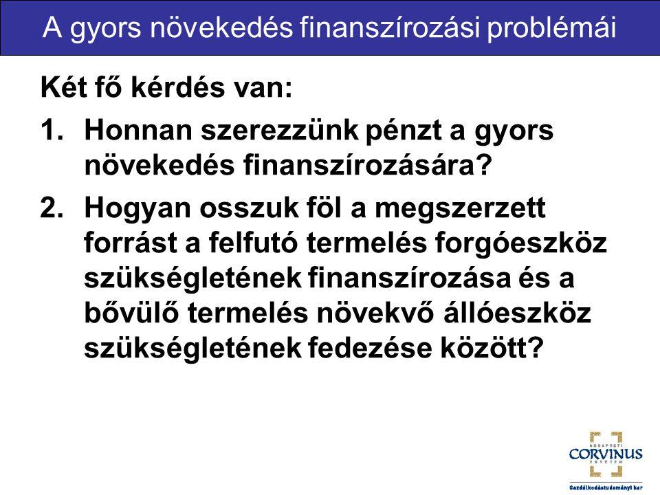 A gyors növekedés finanszírozási problémái