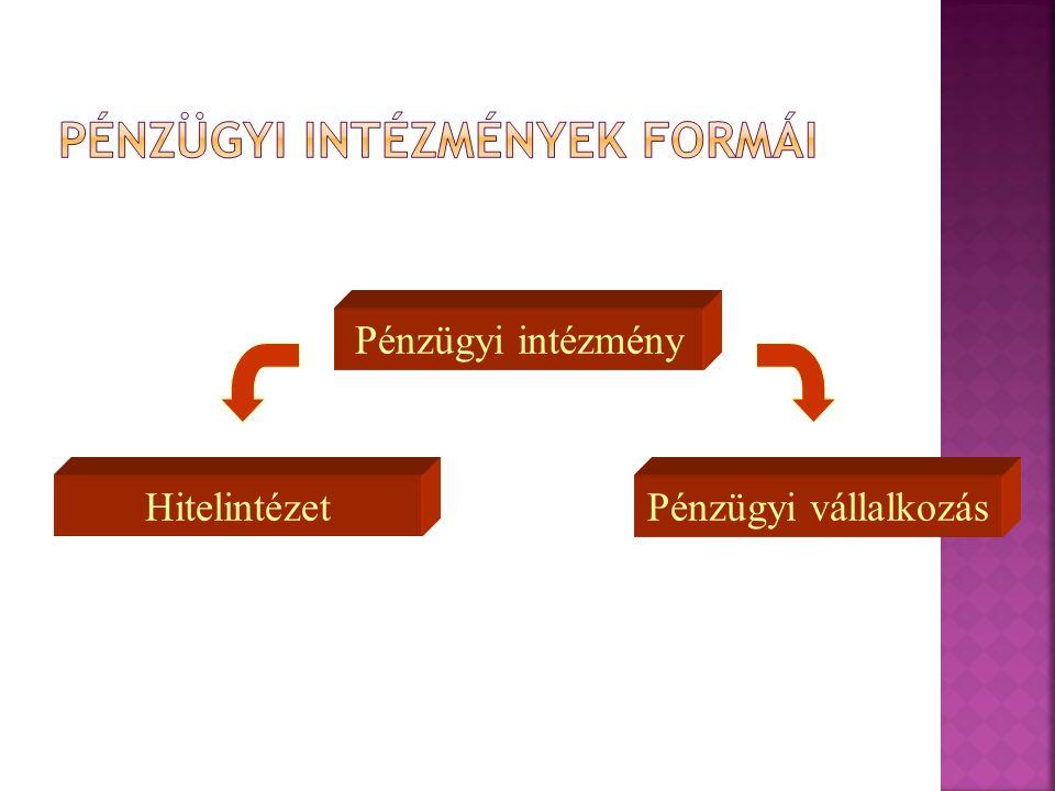 Pénzügyi intézmények formái