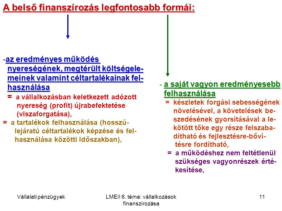 LMEII 6. téma: vállalkozások finanszírozása
