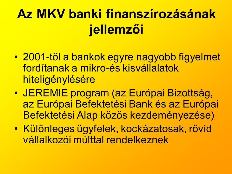 Az MKV banki finanszírozásának jellemzői
