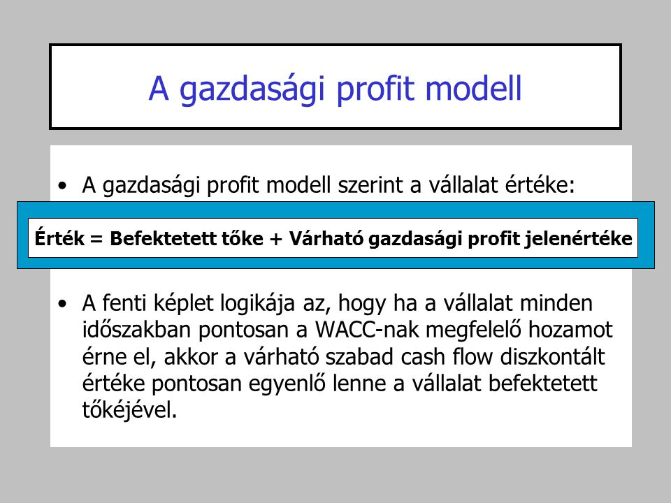 A gazdasági profit modell