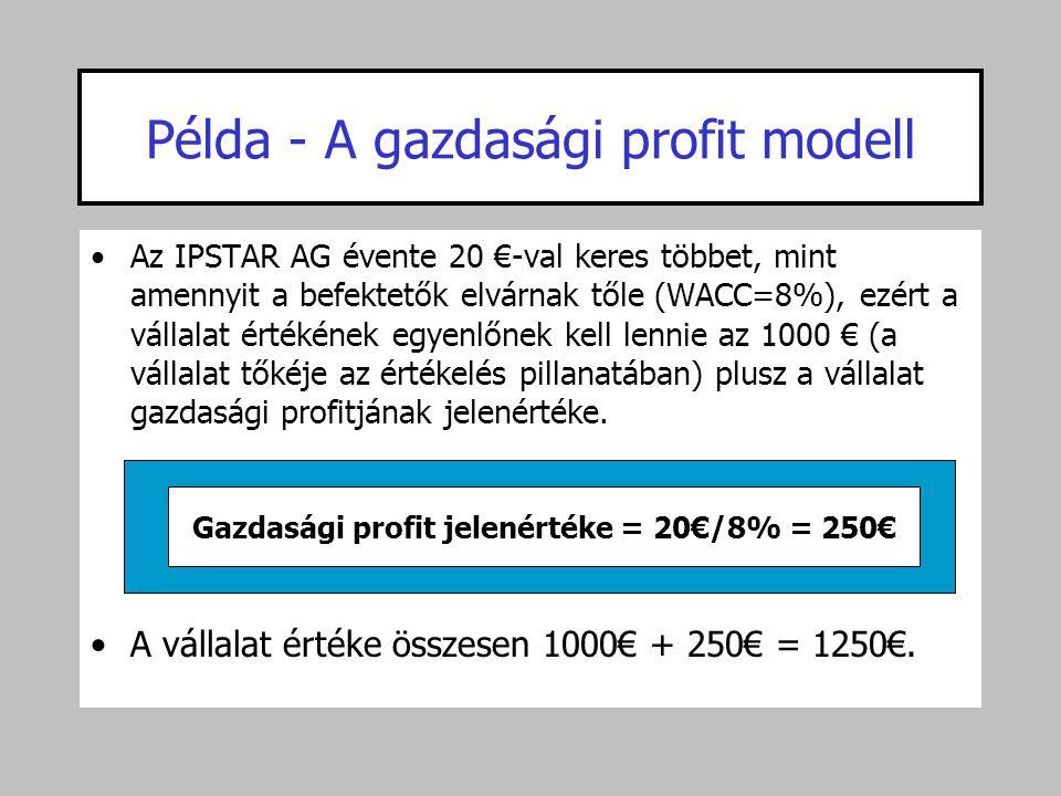 Példa - A gazdasági profit modell