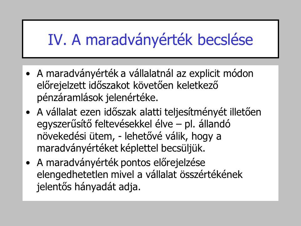 IV. A maradványérték becslése