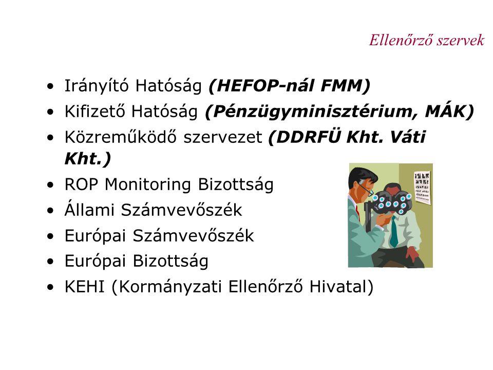 Ellenőrző szervek Irányító Hatóság (HEFOP-nál FMM) Kifizető Hatóság (Pénzügyminisztérium, MÁK) Közreműködő szervezet (DDRFÜ Kht. Váti Kht.)
