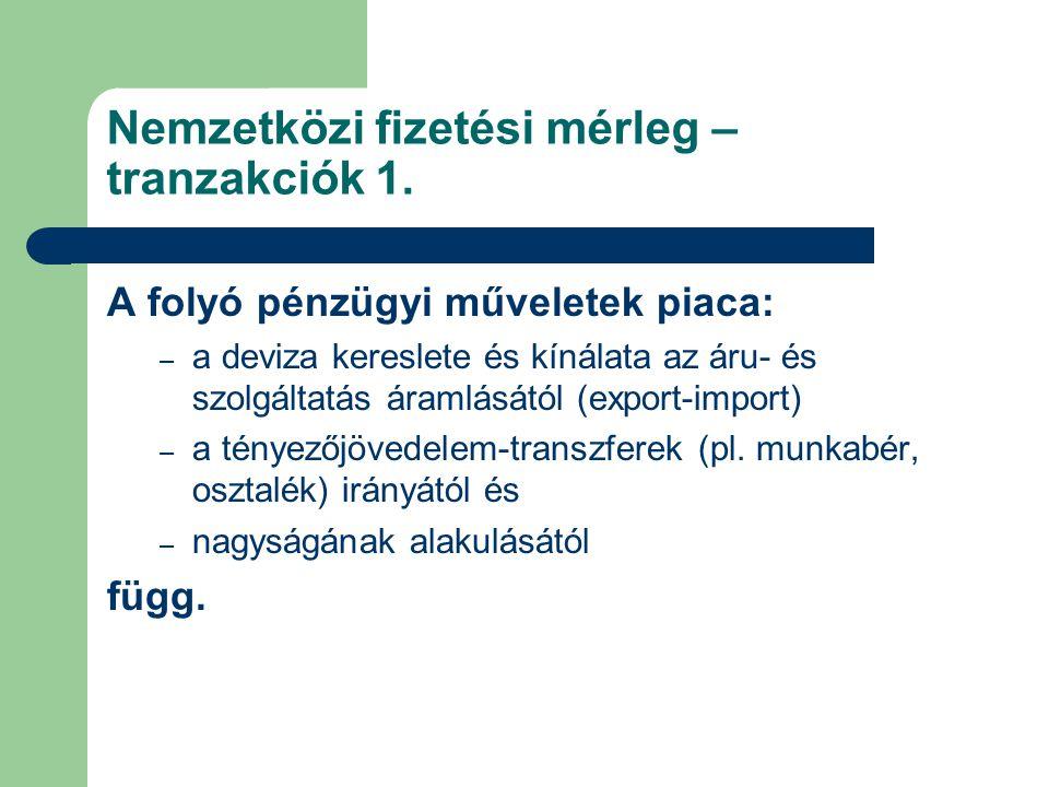 Nemzetközi fizetési mérleg – tranzakciók 1.