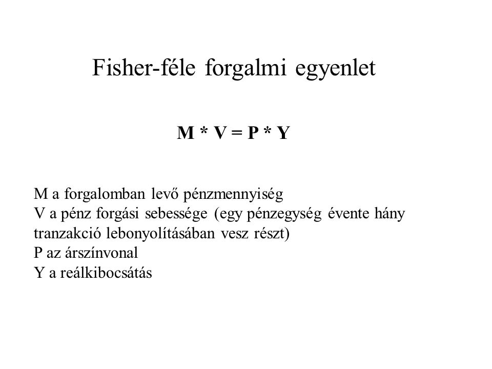 Fisher-féle forgalmi egyenlet