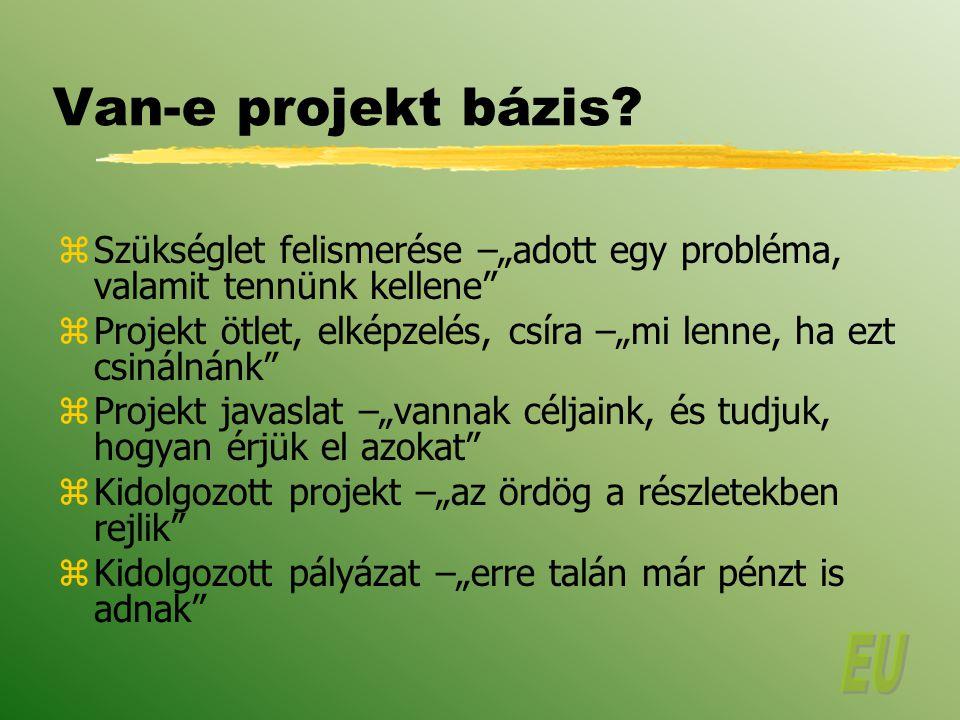 """Van-e projekt bázis Szükséglet felismerése –""""adott egy probléma, valamit tennünk kellene"""