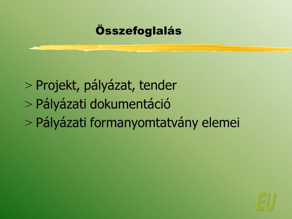 Projekt, pályázat, tender Pályázati dokumentáció