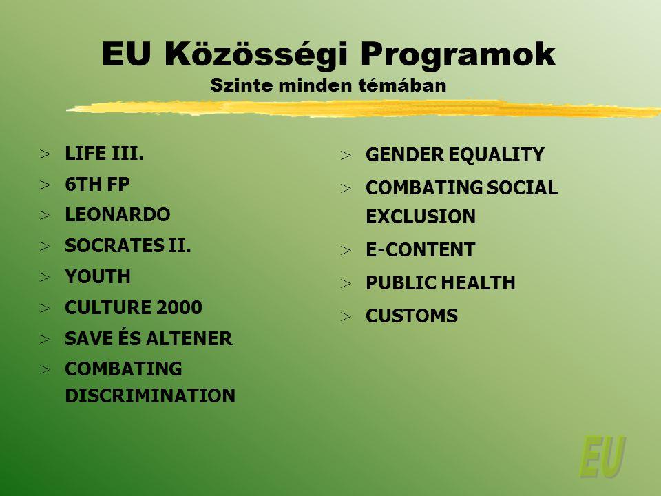 EU Közösségi Programok Szinte minden témában