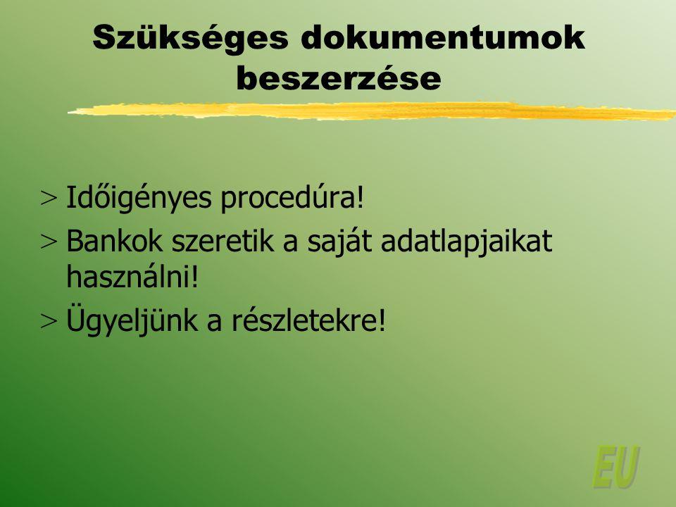 Szükséges dokumentumok beszerzése