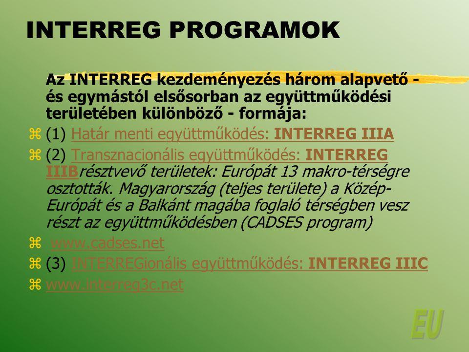INTERREG PROGRAMOK Az INTERREG kezdeményezés három alapvető - és egymástól elsősorban az együttműködési területében különböző - formája: