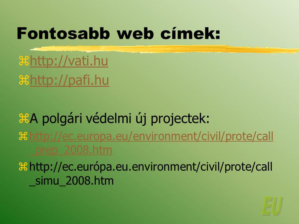 Fontosabb web címek: http://vati.hu http://pafi.hu