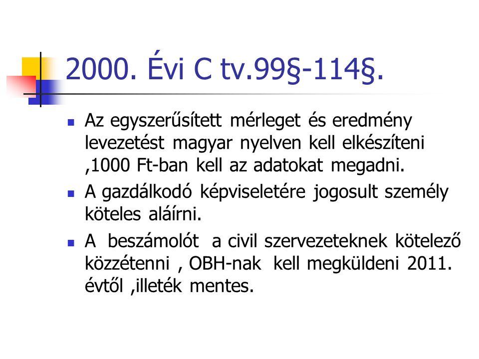 2000. Évi C tv.99§-114§. Az egyszerűsített mérleget és eredmény levezetést magyar nyelven kell elkészíteni ,1000 Ft-ban kell az adatokat megadni.