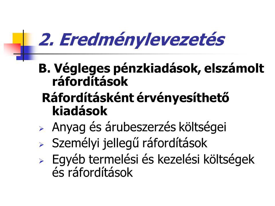 2. Eredménylevezetés B. Végleges pénzkiadások, elszámolt ráfordítások