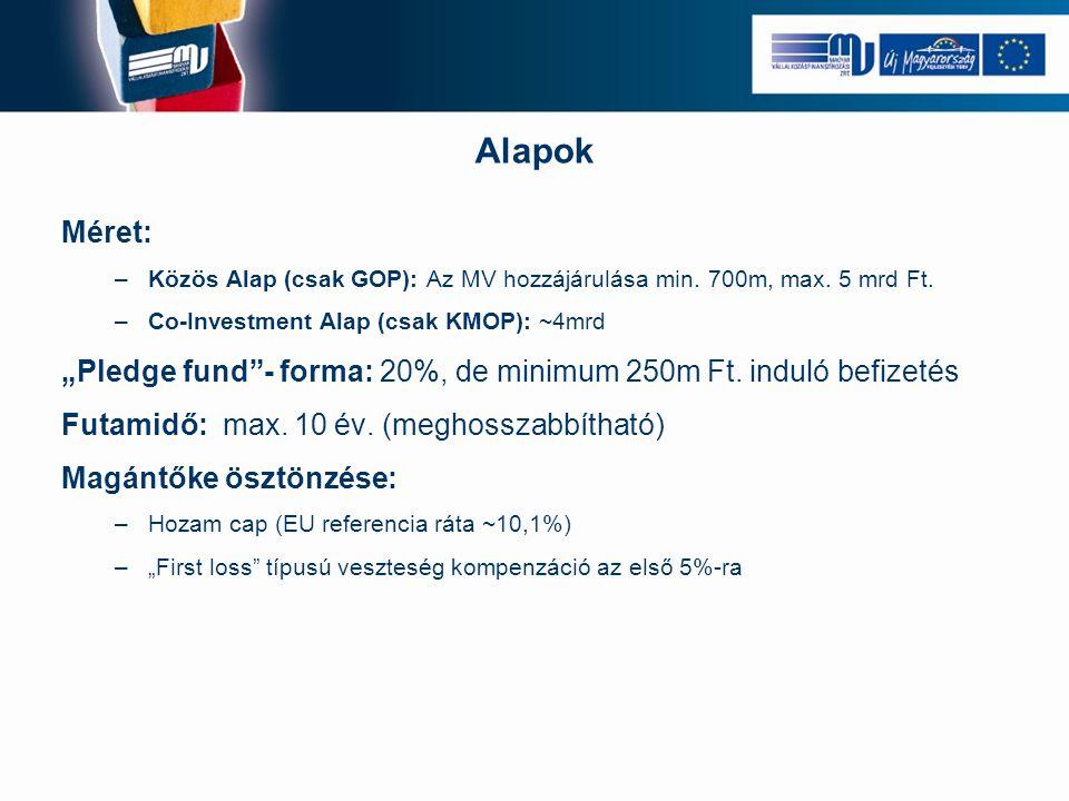 Alapok Méret: Közös Alap (csak GOP): Az MV hozzájárulása min. 700m, max. 5 mrd Ft. Co-Investment Alap (csak KMOP): ~4mrd.