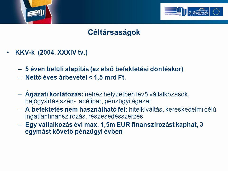 Céltársaságok KKV-k (2004. XXXIV tv.)