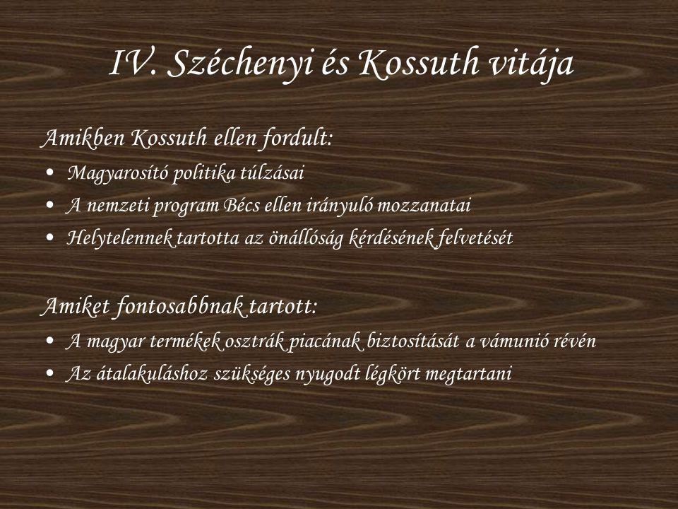 IV. Széchenyi és Kossuth vitája